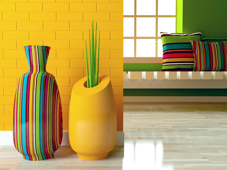Detail shot of modern living room with two bright vases on the floor. Interior design.
