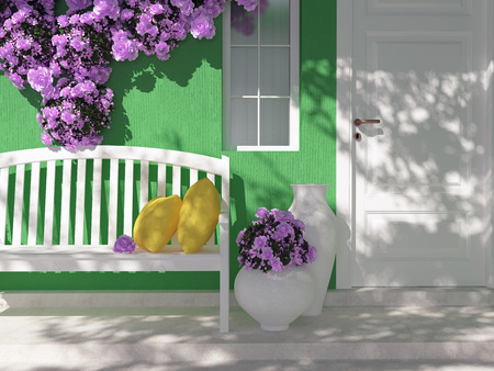 Front View Of Door On A Green House With Window Beautiful