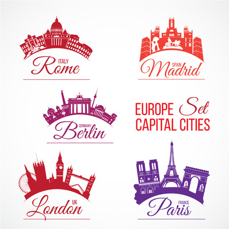 Vector set of Biggest Europe capital cities skylines with lettering words