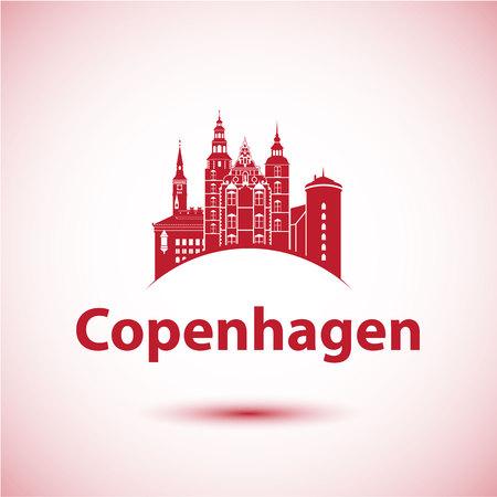 Copenhagen Denmark. Nordic capital. City skyline silhouette. Vector illustration. Icon for travel agency. City hall, Rosenborg Castle, round tower.