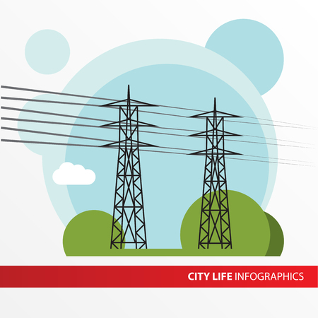 Transmission tower. Isolated power-line carrier, power-line digital subscriber line PDSL, mains communication, power-line telecommunications, power-line networking PLN.  Infographics city.