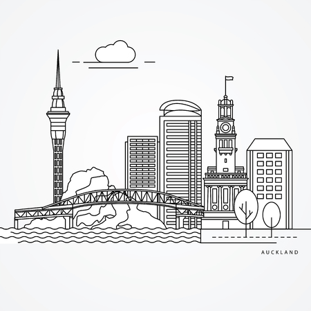 Ilustración de Linear illustration of Auckland, New Zealand. - Imagen libre de derechos