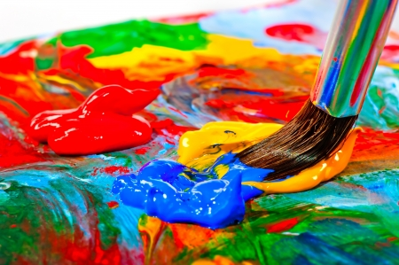 Photo for Art brush mixed paint on the palette - Royalty Free Image