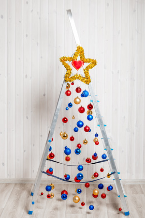 beautiful and creative Christmas tree made from stepladder