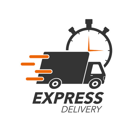 Illustration pour Express delivery icon concept. Truck with stop watch icon for service, order, fast, free and worldwide shipping. Modern design vector illustration. - image libre de droit