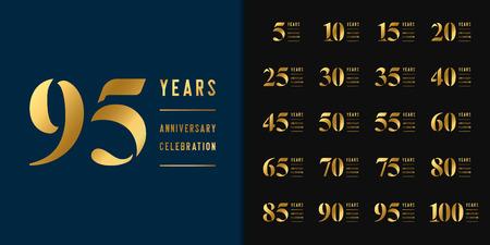 Illustration pour Set of anniversary logotype. Golden anniversary celebration emblem design for company profile, booklet, leaflet, magazine, brochure, web, invitation or greeting card. Vector illustration. - image libre de droit