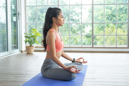Photo pour Training at home. Young asian woman doing yoga exercises with palms in Namaste, meditating, breathing and relaxing, while online tutorial on mobile phone. - image libre de droit