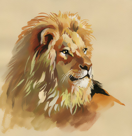 Watercolor lion on a brown background