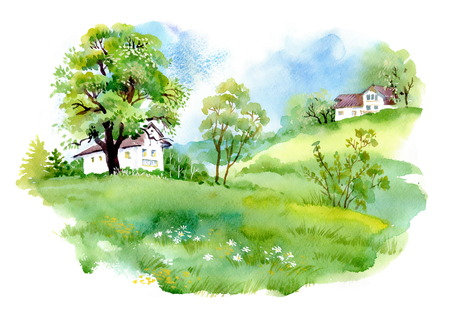 Landscape with houses, watercolor illustration