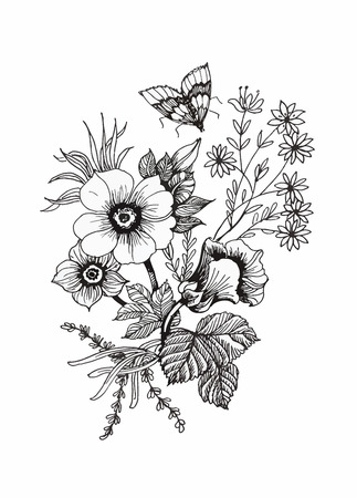 Beautiful monochrome, black and white flower isolated. Hand-drawn contour lines and strokes