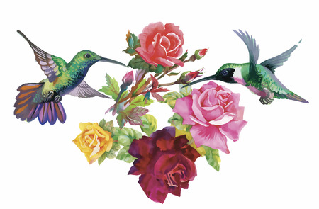 Watercolor hand drawn pattern with tropical summer flowers of and exotic birds.