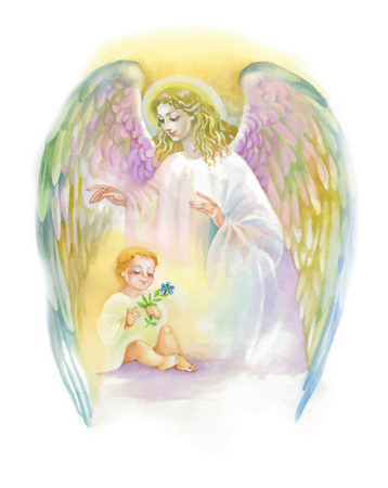 Illustration pour Beautiful Angel with Wings Flying over Child, Watercolor Illustration - image libre de droit