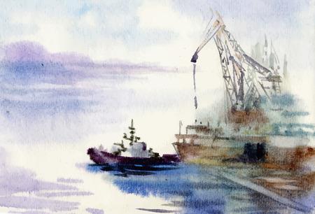 Illustration pour Watercolor industrial port hand drawn illustration - image libre de droit
