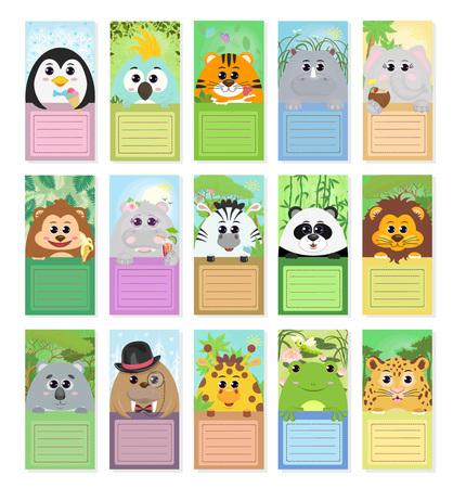 Illustration pour Set of labels for children with animals: penguin parrot tiger Rhino elephant monkey Hippo Zebra Panda lion Koala walrus giraffe toad leopard in different story compositions. Vector graphics. - image libre de droit