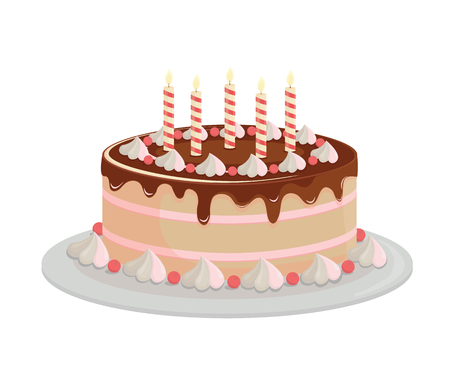 Illustration pour Birthday cake with chocolate icing. Design elements isolated on white-vector. - image libre de droit