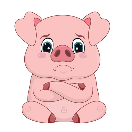 Illustration for Vector illustration, cartoon pig with offended distressed face, emotion, design element isolated on white-vector - Royalty Free Image