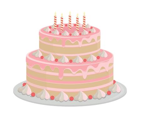 Illustration pour Birthday cake. Design elements isolated on white-vector. - image libre de droit