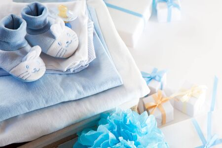 Photo pour Its a boy, blue theme Baby Shower or Nursery background with decorated borders on white background. - image libre de droit
