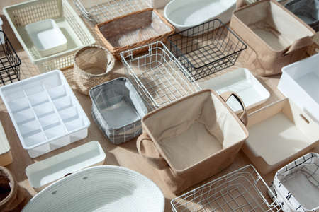 Photo pour Flat lay of Marie Kondos storage boxes, containers and baskets with different sizes and shapes - image libre de droit