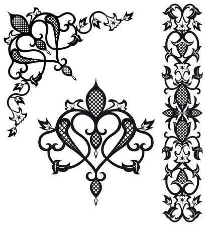 Pattern elements in  vintage style