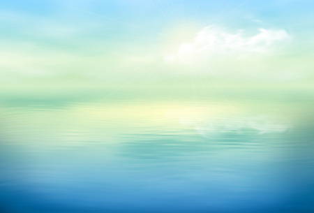Illustration pour Water vector background calm and clear. Sea landscape - image libre de droit