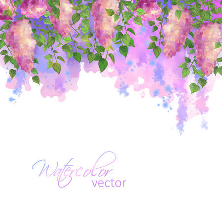 Watercolor vector spring artistic abstract border with flowers and branches of lilac, streaks, blobs