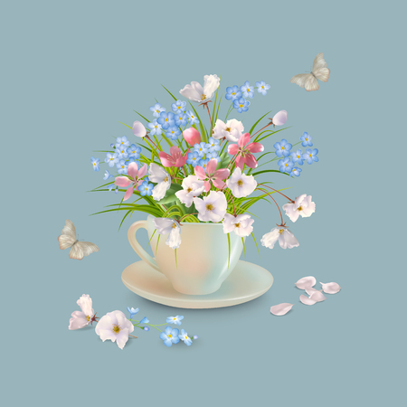 Illustration pour Spring or summer bouquet of herbs and various flowers in teacup, butterfly, fallen petals on a grey background. Vector holiday composition - image libre de droit