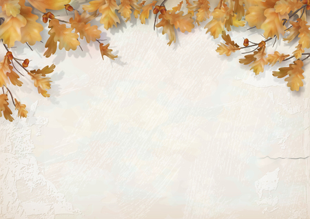Illustration pour Oak branch with leaves and acorns on decorative plaster wall. Vector autumn illustration - image libre de droit