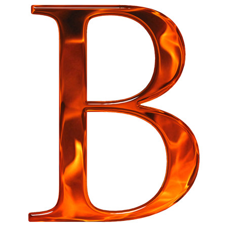 Uppercase letter B - the extruded of glass with pattern flame, isolated on white background