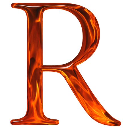 Uppercase letter R - the extruded of glass with pattern flame, isolated on white background