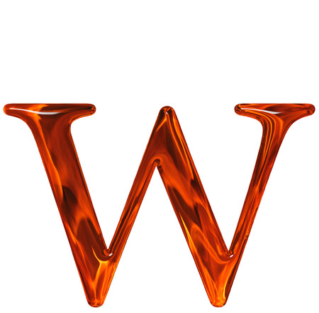 Lowercase letter w - the extruded of glass with pattern flame, isolated on white background