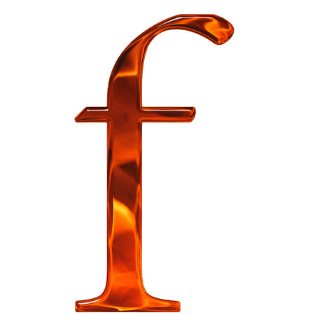 Lowercase letter f - the extruded of glass with pattern flame, isolated on white background
