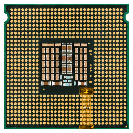 Computer processor with an adapter mounted, multicore CPU, isolated on white background