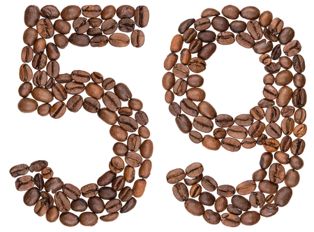 Arabic numeral 59, fifty nine, from coffee beans, isolated on white background