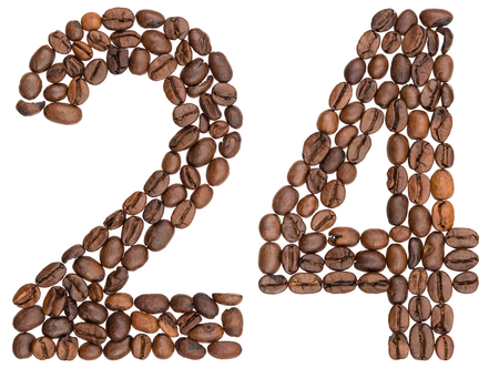 Arabic numeral 24, twenty four, from coffee beans, isolated on white background