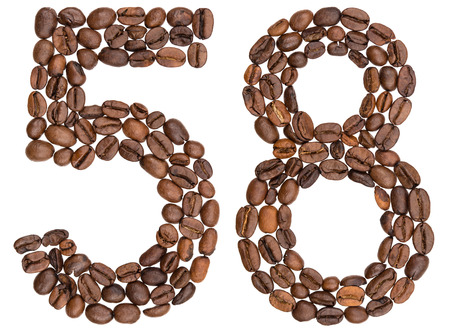 Arabic numeral 58, fifty eight, from coffee beans, isolated on white background