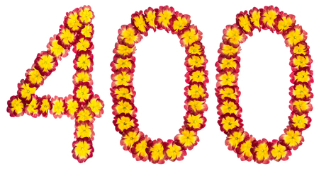 Numeral 400, four hundred, from natural flowers of primula, isolated on white background