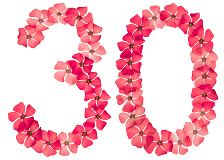 Foto de Numeral 30, thirty, from natural red flowers of periwinkle, isolated on white background - Imagen libre de derechos