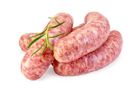 Photo pour Pork sausages with rosemary isolated on white background - image libre de droit