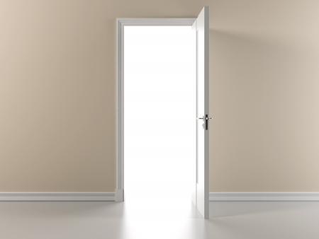 Beige wall with open door