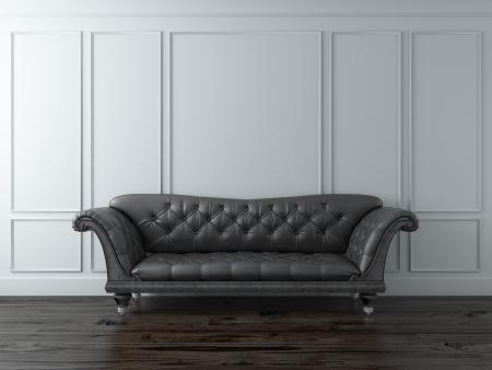 White Classic interior with black sofa
