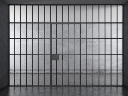 Prison interior with dramatic light