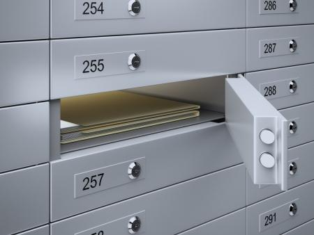 Photo pour 3d render of Safety deposit boxes with documents - image libre de droit
