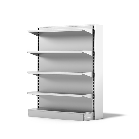 Empty Retail Store Shelf isolated on a white background