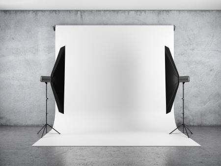 Foto de Blank backdrop and two softboxes - Imagen libre de derechos