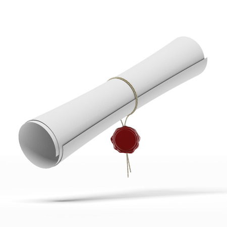 Graduation diploma scroll isolated on a white background