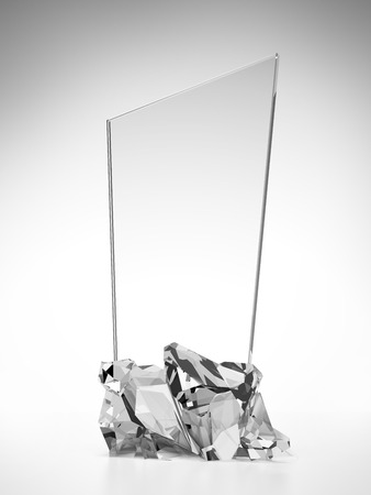 glass award plate isolated on a white background