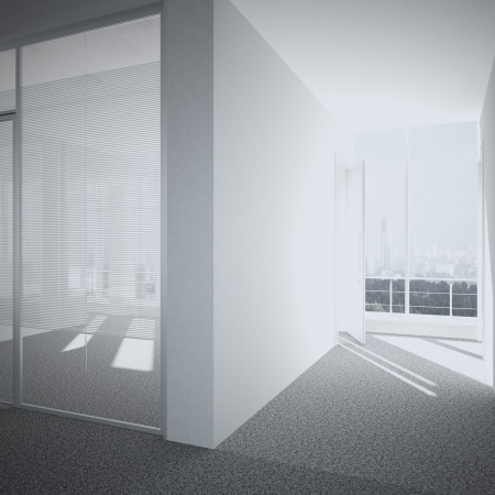 light big hall with glass windows  3d render