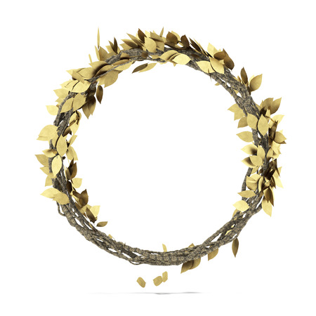 Golden Laurel wreath   isolated on a white background