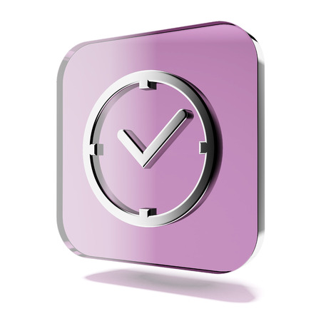 Purple clock icon isolated on a white background. 3d render